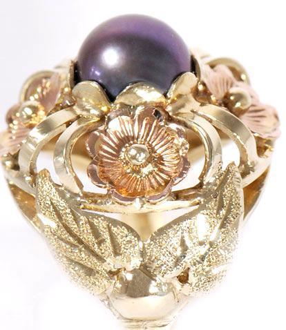 Zlatý prsten s černou perlou P309  - 2