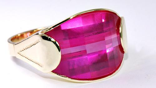 Zlatý prsten s rubínem P301  - 2