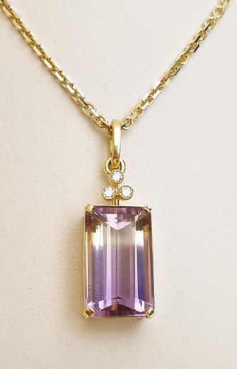 Zlatý přívěšek s ametrinem a diamanty 027229  - 2