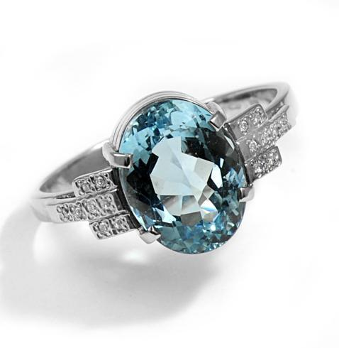 Zlatý prsten s akvamarínem a diamanty PD2002  - 2