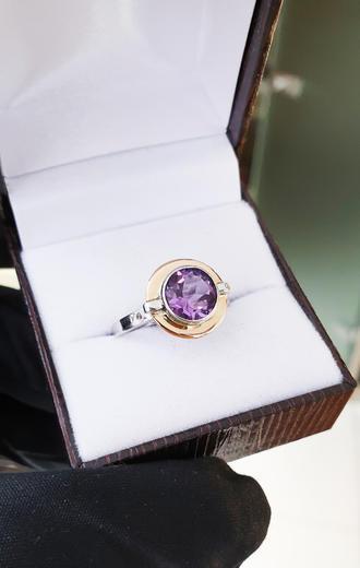 Zlatý prsten s ametystem 014986  - 2