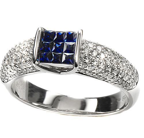 Zlatý prsten se safíry a diamanty PD2011  - 2