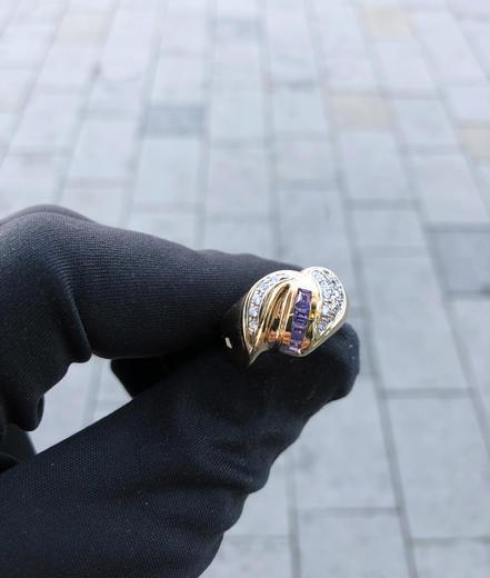 Zlatý prsten se zirkony P783  - 2