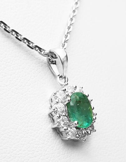 Zlatý přívěšek se smaragdem a diamanty 7075  - 2
