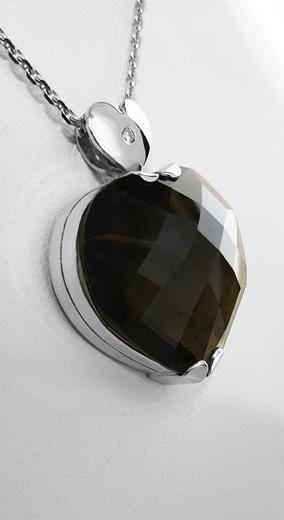 Zlatý přívěšek vltavínové srdce 023150  - 2