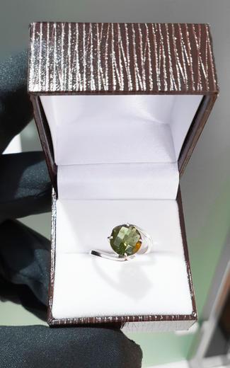 Zlatý prsten s vltavínem P894  - 2