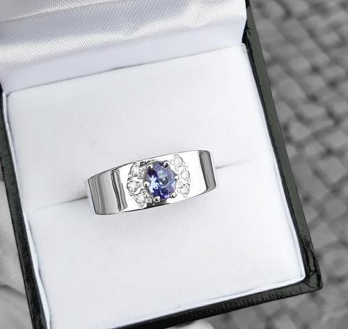 Zlatý prsten se safírem a diamanty 015097  - 3