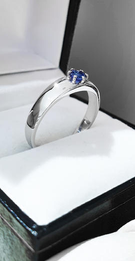 Zlatý prsten se safírem 015201  - 3