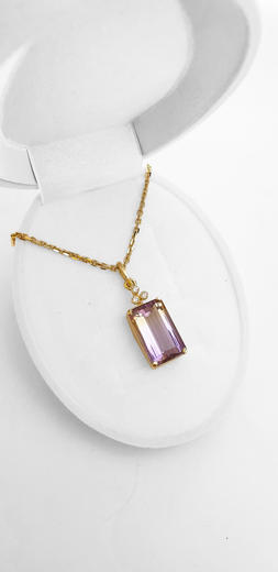 Zlatý přívěšek s ametrinem a diamanty 027229  - 3