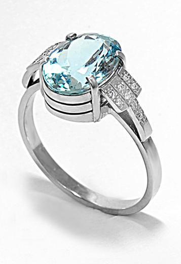 Zlatý prsten s akvamarínem a diamanty PD2002  - 3