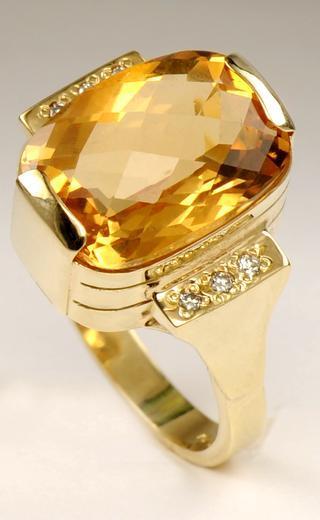 Zlatý prsten s citrínem a diamanty PD476  - 3