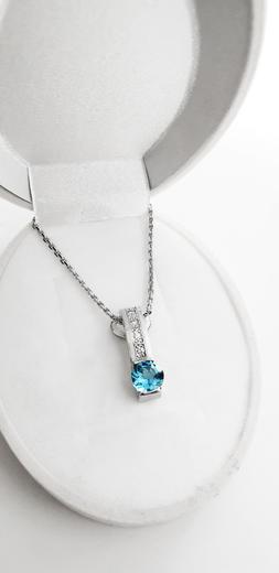 Zlatý přívěšek s topazem a diamanty 023567  - 3