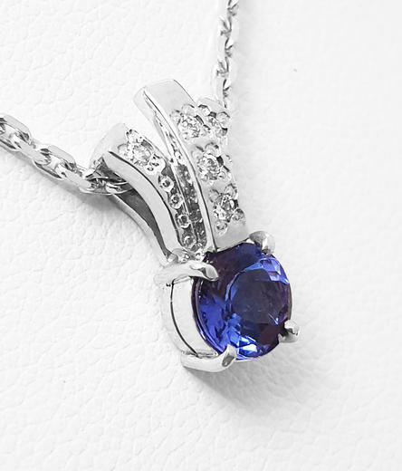 Zlatý přívěšek s tanzanitem a diamanty 023453  - 3