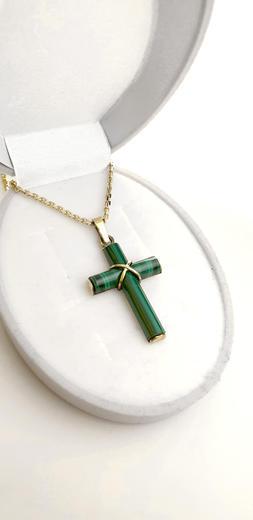 Zlatý přívěšek s malachitovým křížem 021848  - 3