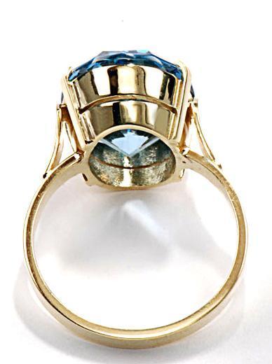 Zlatý prsten s akvamarínem P957  - 3