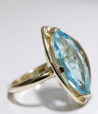 Zlatý prsten s topazem P891  - 3