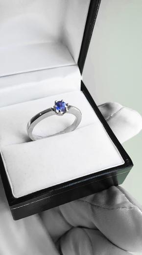 Zlatý prsten se safírem 015135  - 3