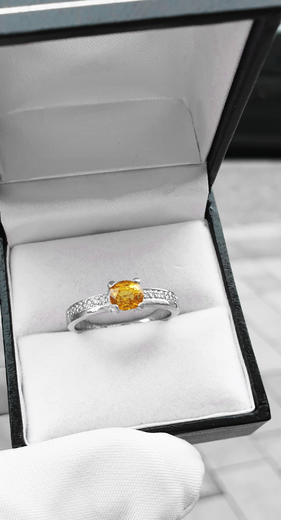 Zlatý prsten se safírem a diamanty PD341  - 3