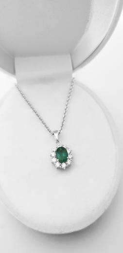 Zlatý přívěšek se smaragdem a diamanty 7075  - 3