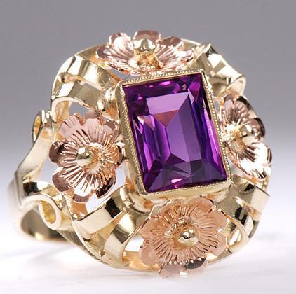 Zlatý prsten s ametystem P308  - 3