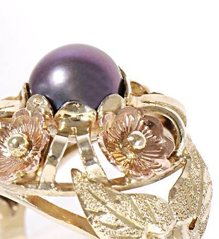 Zlatý prsten s černou perlou P309  - 3