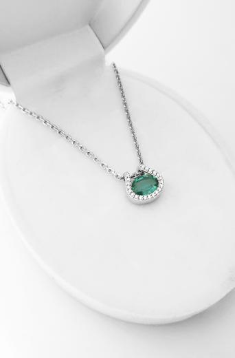 Zlatý přívěšek se smaragdem a diamanty 7060  - 3