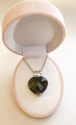 Zlatý přívěšek vltavínové srdce 023150  - 3