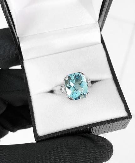 Zlatý prsten s topazem a diamanty PS544  - 3