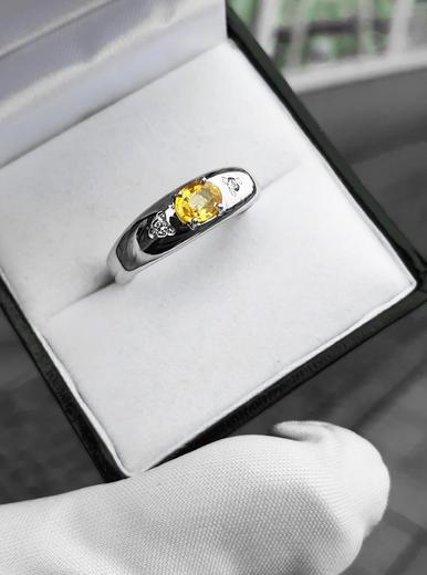 Zlatý prsten se safírem a diamanty 015297  - 4