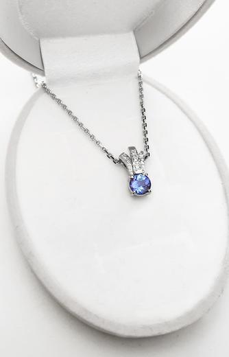Zlatý přívěšek s tanzanitem a diamanty 023453  - 4