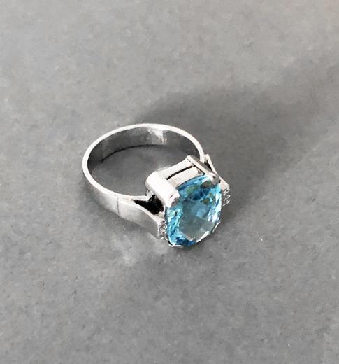 Zlatý prsten s topazem a diamanty PS544  - 4