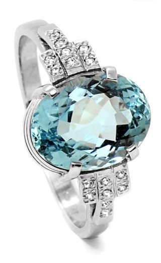 Zlatý prsten s akvamarínem a diamanty PD2002  - 4