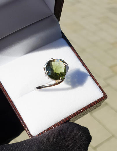 Zlatý prsten s vltavínem P894  - 4