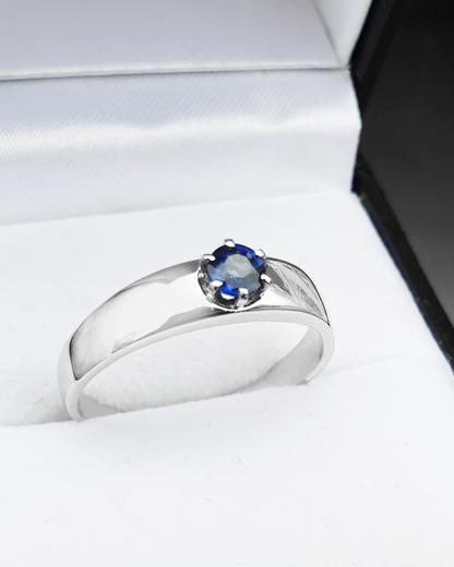 Zlatý prsten se safírem 015201  - 4