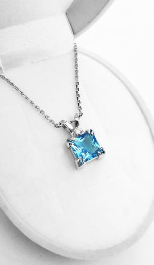 Zlatý přívěšek s topazem a diamanty 023609  - 4