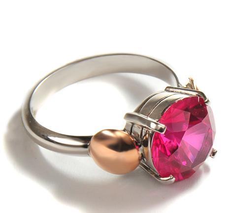 Zlatý prsten s rubínem P1013  - 4