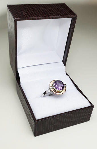 Zlatý prsten s ametystem 014986  - 4