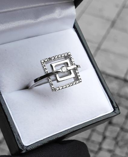 Zlatý prsten s diamanty 038446  - 5