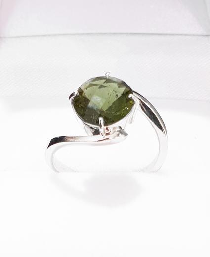 Zlatý prsten s vltavínem P894  - 5
