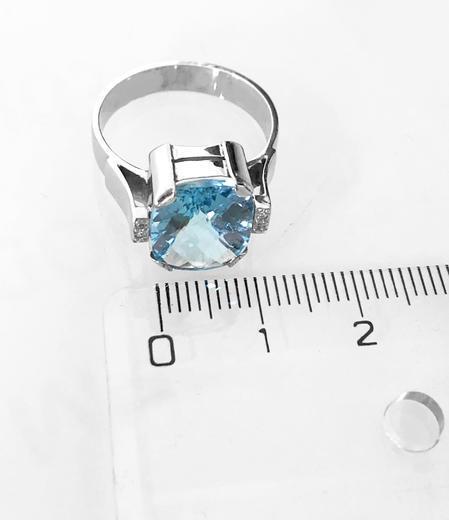 Zlatý prsten s topazem a diamanty PS544  - 5