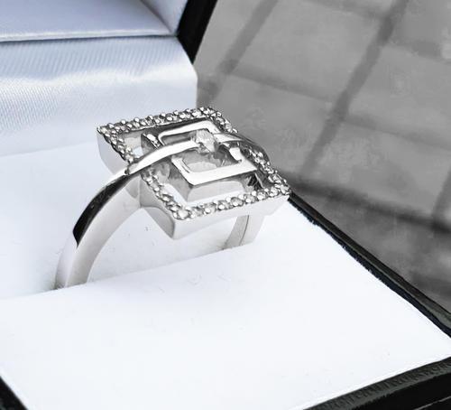 Zlatý prsten s diamanty 038446  - 6