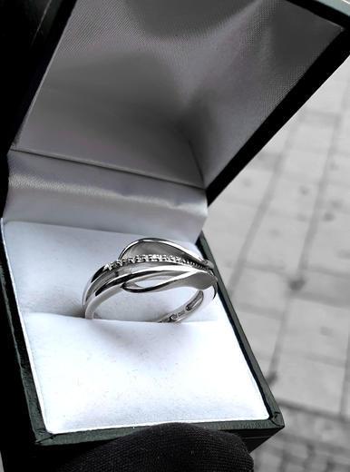 Zlatý prsten s diamanty 039346  - 5